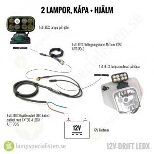 LEDX Skyddsskabel (MC-kabel) dubbel med 1 XT60 +1 LEDX